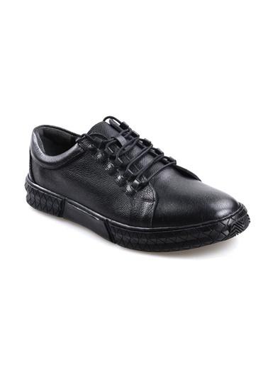Goes 724 Kauçuk Taban Ortapedik Siyah Günlük Erkek Deri Ayakkabı Siyah
